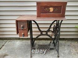 1878 Singer Sewing Machine 12 New Family Fiddle Base on it's original cabinet