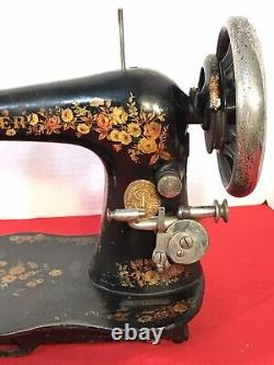 1891 SINGER VS2 FIDDLE BASE TREADLE SEWING MACHINE ROSE PATTERN withSHUTTLE