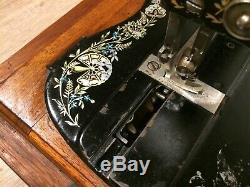 1897 Antique SINGER 12K Sewing Machine with Case & Ottoman Carnation Decals