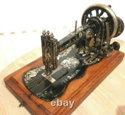 1897 Antique SINGER 12K Sewing Machine with Case & Ottoman Carnation Decals