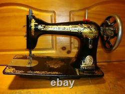 1900 Antique Singer Sewing Machine Head Model 15 Sphinx, Serviced