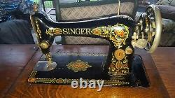 1910 Antique Red-Eye SINGER Sewing Machine & Wood/Iron Table Cabinet G8148002