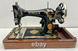 1919 Singer Model 128 La Vencedora Portable Sewing Machine & Oak Bentwood Case