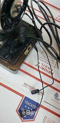 1923 Antique Singer 128 Sewing Machine Bentwood Oak Case Parts Repair