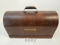 1951 SINGER SEWING MACHINE Model 66-16 with Antique Wood Locking Case