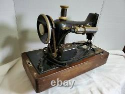 ANTIQUE SINGER Manufacturing Electric Sewing Machine with Bentwood Case BU7-E