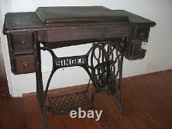 ANTIQUE SINGER SEWING MACHINE Redeye Model 66 Treadle Oak Cabinet 1920