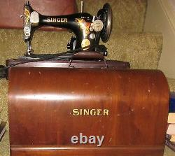 ANTIQUE VINTAGE 1929 SINGER SEW SEWING MACHINE WithCASE IN WORKING CONDITION