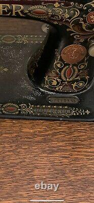 ANTIQUE VINTAGE Singer Treadle Sewing Machine in Ornate Drawing Room Cabinet
