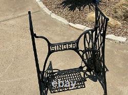 Antique 1879 Original SINGER TREADLE SEWING MACHINE Cast Iron Base / Table Legs