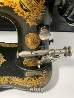 Antique 1891 SINGER TREADLE SEWING MACHINE Fiddle Base, Shuttle, Model 27 VS2