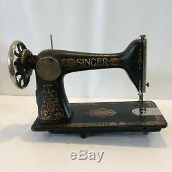 Antique 1899 Singer Sewing Machine Gold Black Red with Wheel Ornate Plates