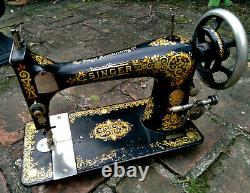 Antique 1901 Singer Model 27 Sewing Machine Gingerbread Tiffany Decals Working