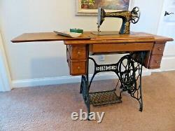 Antique 1910 Singer #66-1 Treadle Sewing Machine with Cabinet Manual & Attachments