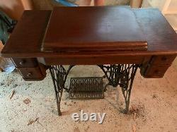 Antique 1910 Singer Sewing Machine with Treadle ORIGINAL Cabinet and Accessories