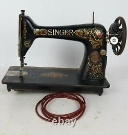 Antique 1916 Singer Red Eye Model 66 Treadle Sewing Machine + Belt ONLY Works
