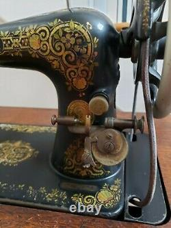 Antique 1917 Tiffany Gingerbread SINGER TREADLE SEWING MACHINE with Cabinet
