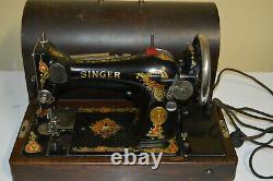Antique 1925 Vintage SINGER Model 128 Sewing Machine Bentwood case AA281411
