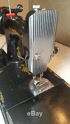 Antique 1950 Singer Featherweight 221 Sewing Machine With Case And Many Extras