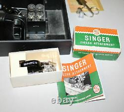 Antique Featherweight Singer Sewing Machine 221 works Lots of Accessories