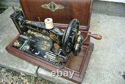 Antique SINGER 48K Sewing Machine with Case & Ottoman Carnation Decals
