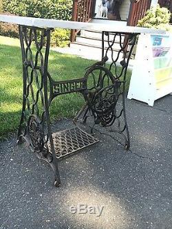 Antique SINGER Cast Iron Treadle Sewing Machine Table Base Vintage Industrial