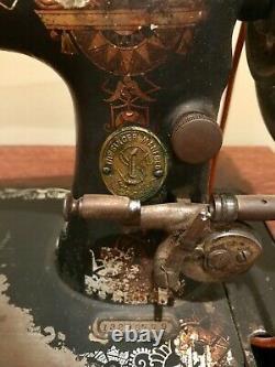 Antique SINGER GOLD ROSES Sewing Machine Model 27 28 Cabinet (Vintage 1895) Nice