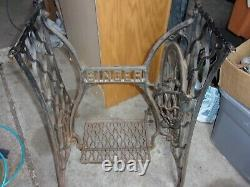 Antique SINGER TREADLE SEWING MACHINE Cast Iron Base Legs WOOD PITMAN ARM