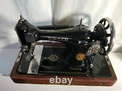 Antique Singer 128-3 AE 188053 Series Sewing Machine with light, and wooden case