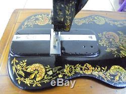 Antique Singer 12k'New Family' Ottoman Carnation Fiddlebase Sewing Machine
