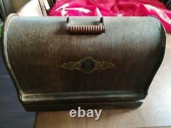 Antique Singer 28K Hand-Crank Sewing Machine with case