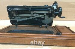 Antique Singer 48K Sewing Machine with Case and Ottoman Carnation Decals