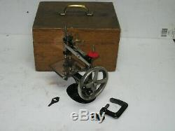 Antique Singer Model 20 Four 4 Spoke Child Sewing Machine 1910's w Case + Clamp