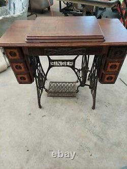 Antique Singer No. 66 Sewing Machine And Treadle Table With original manual