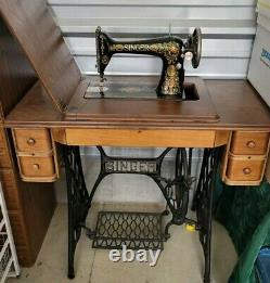 Antique Singer Red Eye No 66 Treadle Sewing Machine in Original Cabinet Vintage