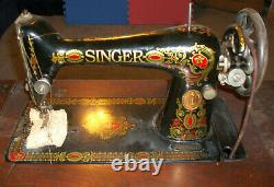 Antique Singer Sewing Machine Class 39 (1910) with Foot Treadle and Cabinet