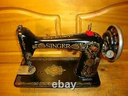 Antique Singer Sewing Machine Head Model 66 Red Eye, Serviced