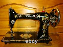 Antique Singer Sewing Machine Head Model 66'lotus', Serviced, #h109764