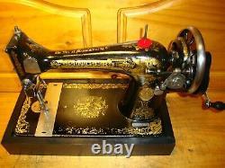 Antique Singer Sewing Machine Model 127, Hand Crank, Serviced