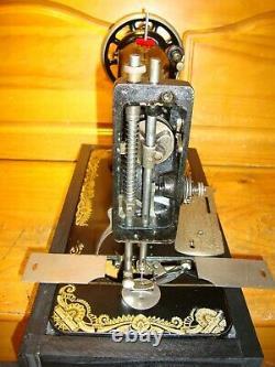 Antique Singer Sewing Machine Model 127'sphinx', Hand Crank, Serviced