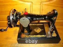 Antique Singer Sewing Machine Model 128' La Vencedora', Hand Crank, Serviced