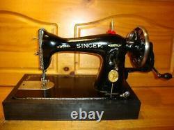 Antique Singer Sewing Machine Model 15-90, Hand Crank, Serviced