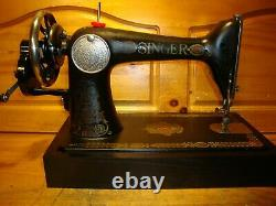Antique Singer Sewing Machine Model 66 Red Eye, Hand Crank, Leather, Serviced