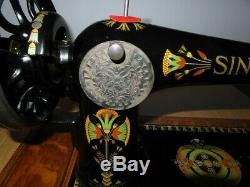Antique Singer Sewing Machine Model 66k With Lotus Flower Decals