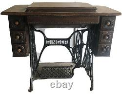 Antique Singer Treadle Sewing Machine #66 Fancy Carved 7 Drawer