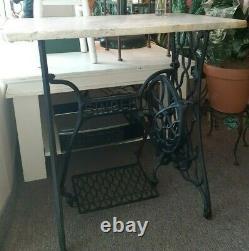 Antique Singer Treadle Sewing Machine Cast Iron Base Marble Top