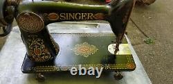 Antique Singer Treadle Sewing Machine Red Eye Absolutely Beautiful Graphics