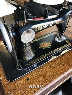Antique Singer Treadle Sewing Machine Red Eye #G3471169 In Oak Cab # 66-1 -1914
