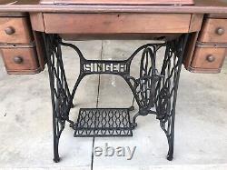 Antique Singer Treadle Sewing Machine Table Cabinet Cast Iron Wood Tiger Oak
