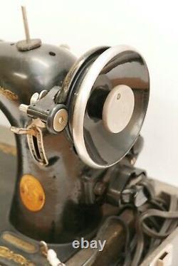 Antique Vintage SINGER Model 66 Sewing Machine AG 1946 Fresh Belt, LED Light
